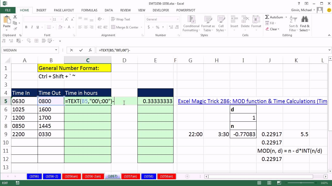 How to calculate total hours schedule in excel spreadsheet for Template to calculate hours worked