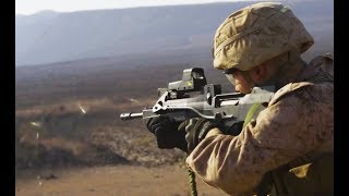 U.S. Marines test fire FAMAS French Bullpup Rifles in full auto