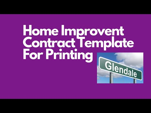 Home improvement  contract template for printing