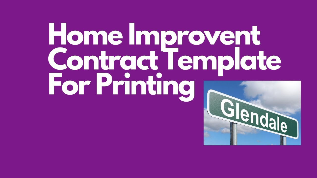 Home Improvement Contract Template For Printing YouTube - Home improvement contract template