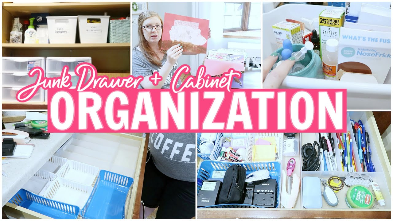 Organizing Our Messy Junk Drawer + Cabinet || MINIMIZE & DECLUTTER WITH ME!
