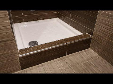 Снятие плитки и установка поддона в душ.