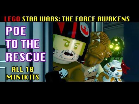 POE TO THE RESCUE (Admiral Ackbar) Walkthrough - LEGO Star Wars TFA - All 10 Minikits + Red Brick