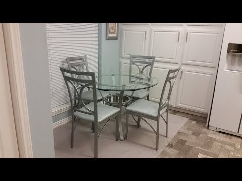DIY Budget Dinette Table & Chairs Overhaul - Rust-Oleum Hammered Silver Paint - Ostrich Vinyl Fabric