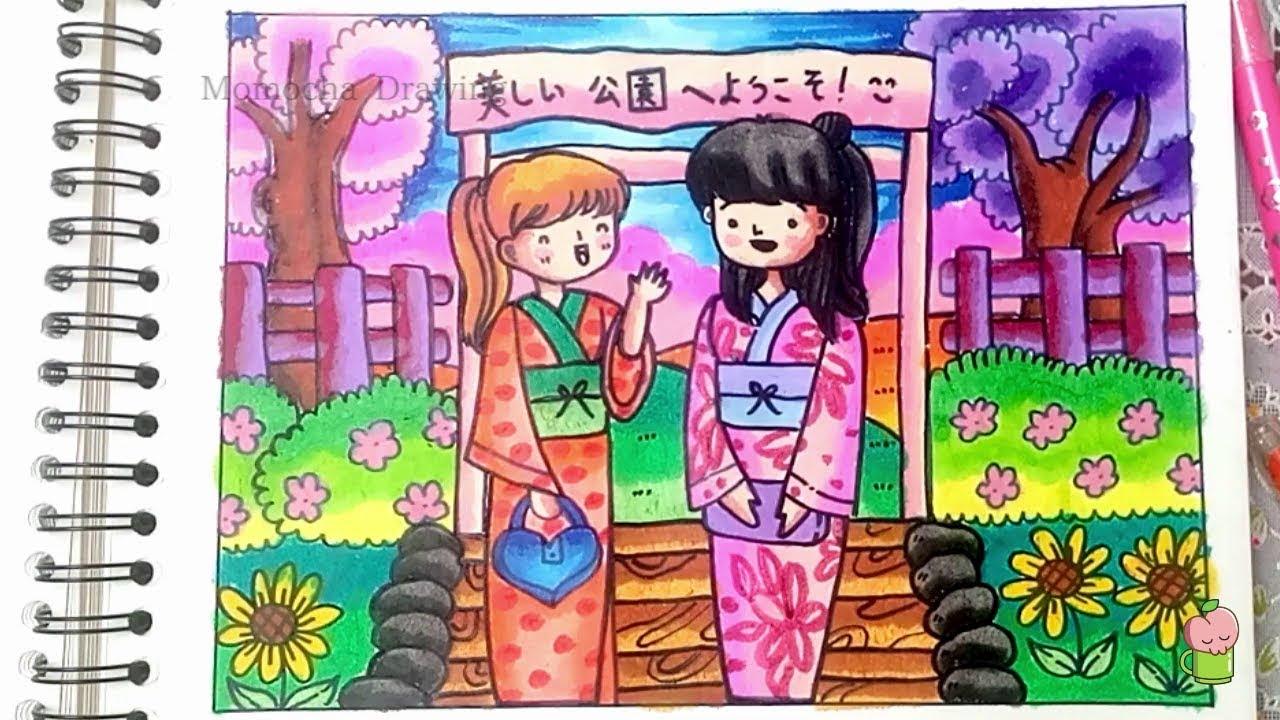 Persahabatan Di Jepang Cara Menggambar Dan Mewarnai Gradasi Warna Oil Pastel Untuk Pemula Youtube