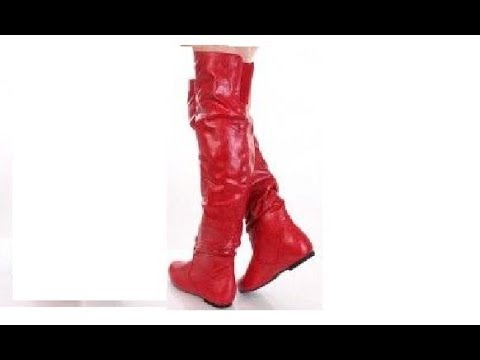 513be27486fddf Womens red leather Thigh High Boots - YouTube