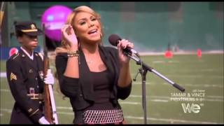 Tamar Braxton sings The National Anthem