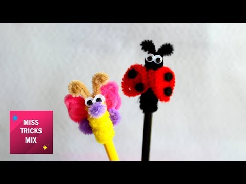 Cute Pipe Cleaner Ladybug And Butterfly Pencil Toppers / Supplies For Back To School.