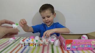 Хелло Китти яйца с сюрпризом открываем игрушки HELLO KITTY