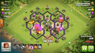 Clash of Clans : Best attack ever ;Best troop combination for townhall 8
