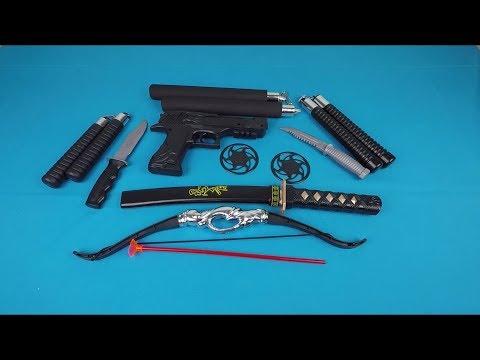 Best Toys | Ninja Weapons Set - Dragon Embroidered Pistol - Nunchucks And Shuriken Toys For Kids