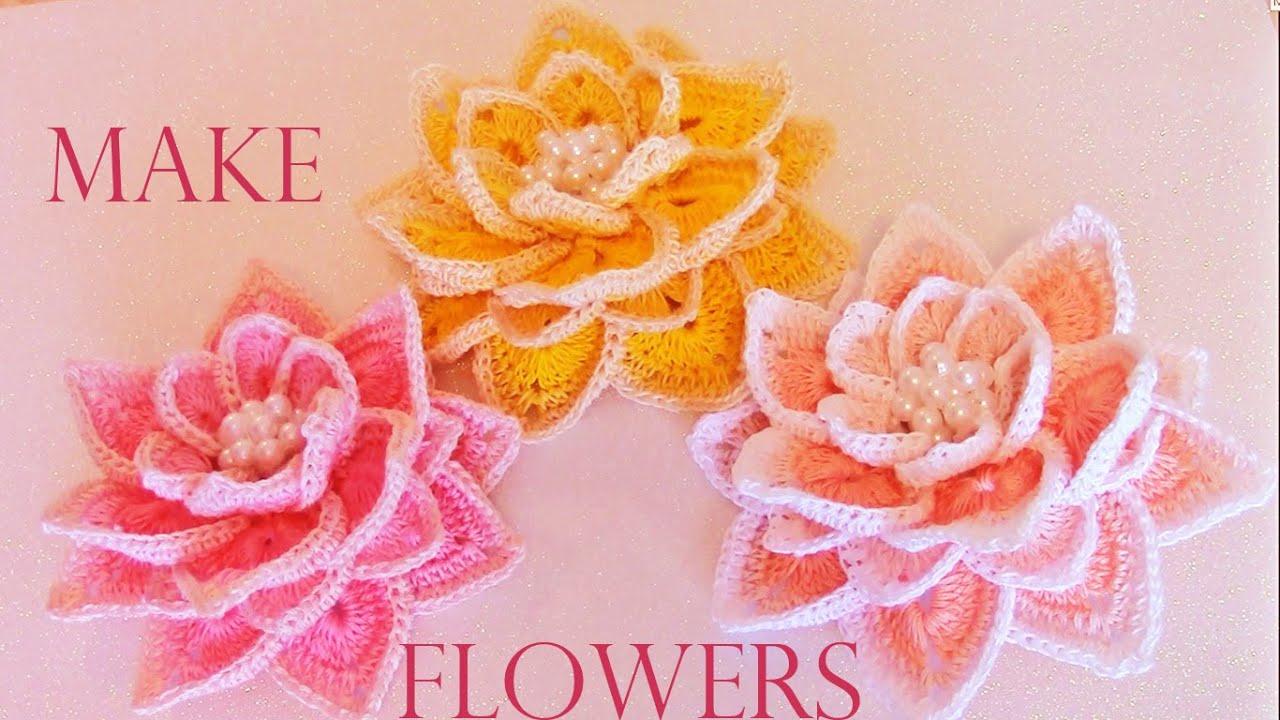 Como tejer f cil r pido flores hermosas en una sola tira - Como hacer flores de ganchillo ...