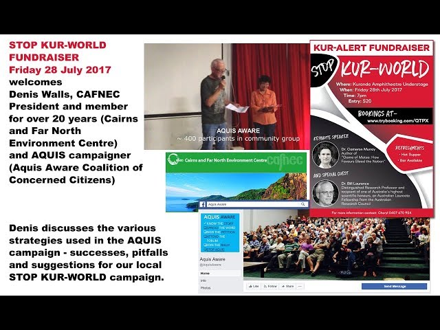 STOP KUR World Fundraiser 28 July Denis Walls CAFNEC, AQUIS AWARE , Questions and Comments session