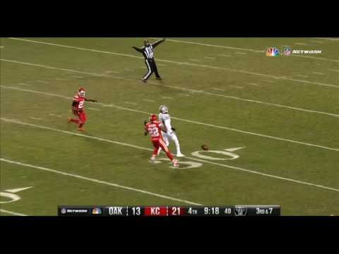 HD slow motion multi-replay of Carr to Cooper pass hitting NBC's low-hanging Spider Cam