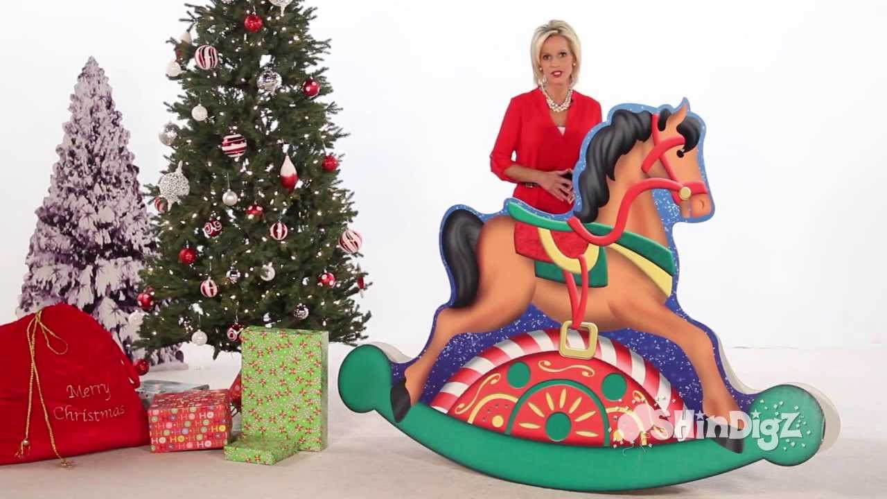 santas workshop rocking horse standee party supplies shindigz christmas decorations - Horse Christmas Decorations