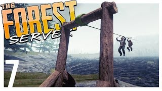 ZIPLINING ACROSS THE SINK HOLE   The Forest Multiplayer Gameplay - Part 7 (Patreon Server)