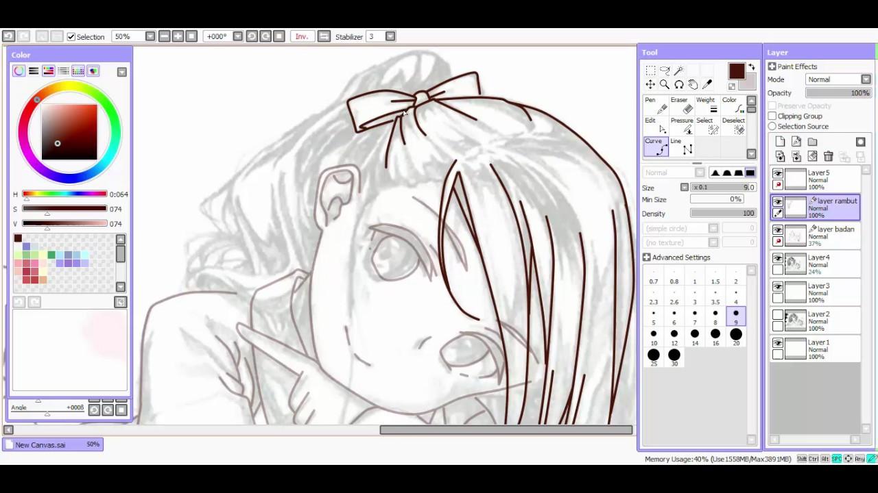 Paint tool SAI Lineart Tutorial for mouse user/newbie ( Bahasa ...