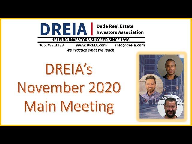DREIA's November 2020 Main Meeting