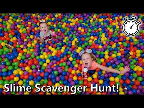 Last to Find the Slime Ingredients... Slime Scavenger Hunt in Giant Ball Pit!!