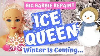 ICE QUEEN / WINTER BARBIE DOLL REPAINT / HOW TO MAKE CHRISTMAS HOLIDAYS SNOW DOLL #doll #art