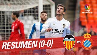 Resumen de Valencia CF vs RCD Espanyol (0-0)