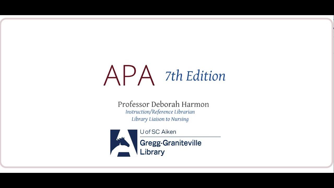 APA 7th Edition (Paper Formatting) for USCA Nursing