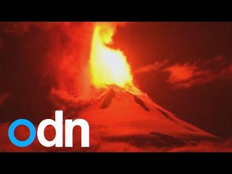 Huge lava fountain as Villarrica volcano erupts in Chile