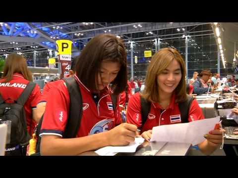 นักวอลเลย์บอลหญิงทีมชาติไทย เดินทางร่วมการแข่งขันมองเทรอซ์ วอลเลย์ มาสเตอร์ 28-05-59