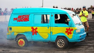 Rotary powered Mystery Machine SHREDS at Cleetus and Cars!