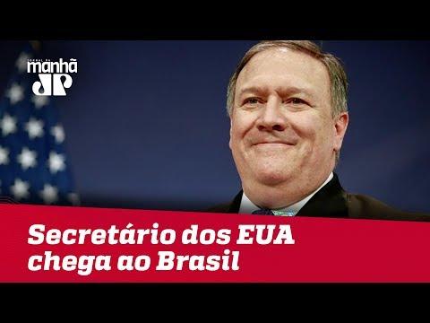 Secretário dos EUA Mike Pompeo chega ao Brasil