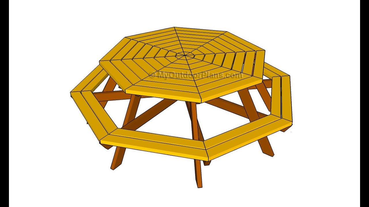 Octagon picnic table plans - YouTube