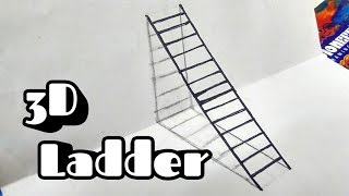 How to draw a 3D ladder - Optical Illusion - In less than 5 minutes