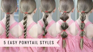 5 Amazing Ponytail Styles👱🏻‍♀️ by SweetHearts Hair (SUPER EASY)