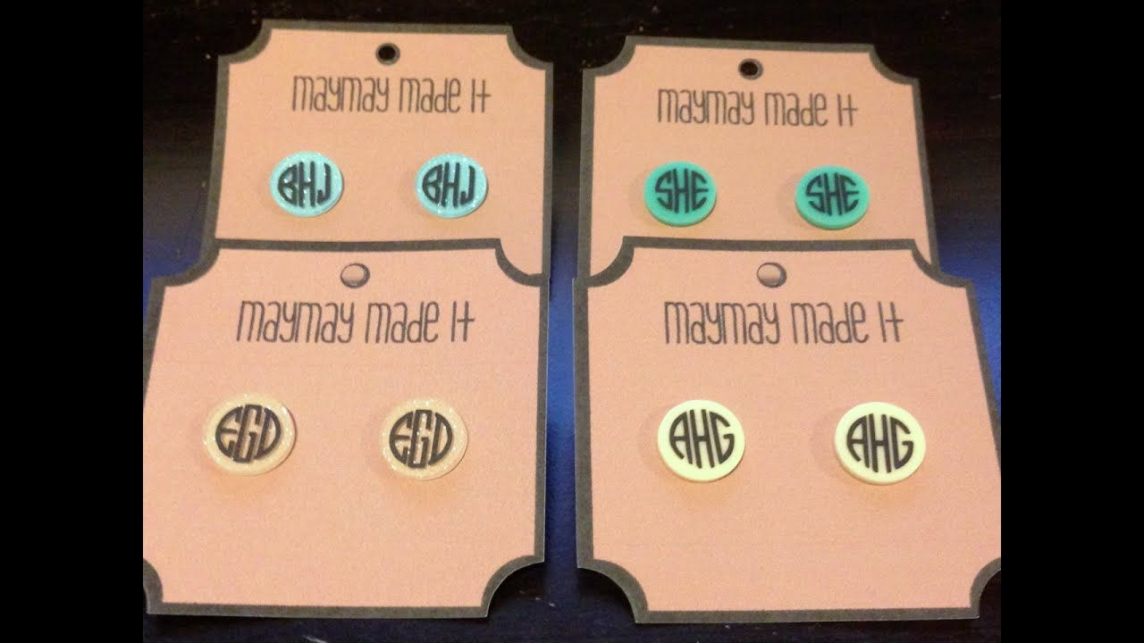How To Make Monogram Acrylic Earrings Using Vinyl And Cricut - How to make vinyl decals with cricut explore