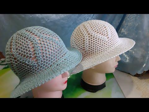 Вязание крючком шляпки с полями видео