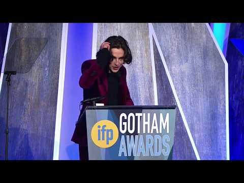 Timothée Chalamet winning the Breakthrough Actor Gotham Award for CALL ME BY YOUR NAME