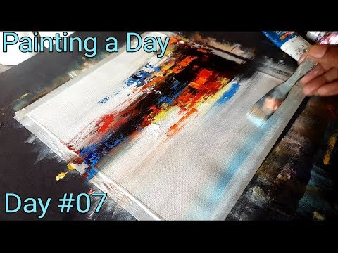 Easy Abstract Painting / Acrylic on canvas / Project 365 days / Day #07 / Demonstration