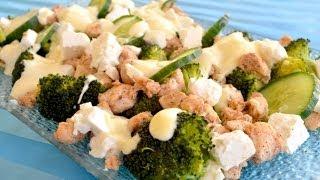 Sałatka brokułowa z kurczakiem, serem feta i ogórkiem - Jak zrobić - [Smakowite Dania]