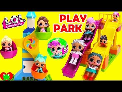 LOL Surprise Dolls and Disney Princess Visit Ice Cream Play Park