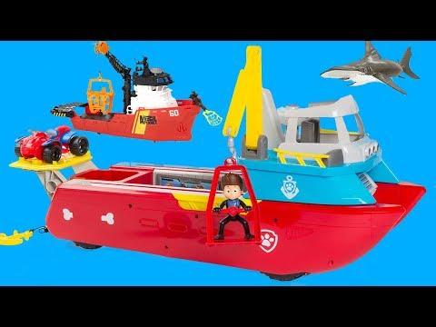 TOY SHIPS! PAW PATROL SEA PATROLLER RESCUE, ANIMAL PLANET DEEP SEA SHARK RESEARCH SHIP PLAYSET