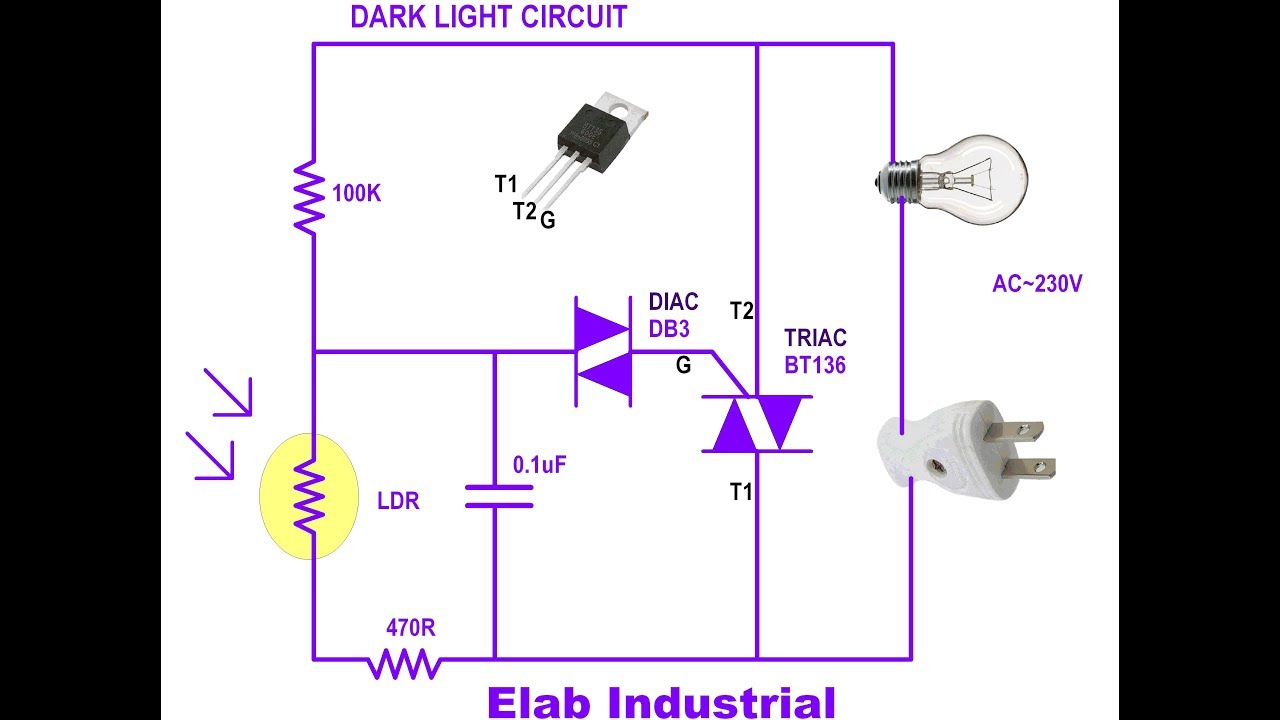 dark light circuit  triac  easy
