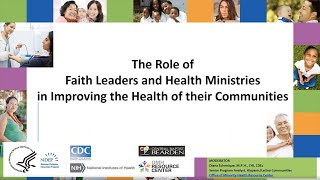 The role of faith leaders and health ministries in improving their communities