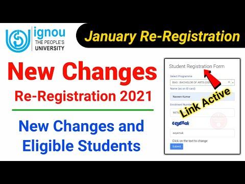 IGNOU New Changes Re-Registration January 2021 U0026 Eligible Students   Ignou Re Registration Jan 2021
