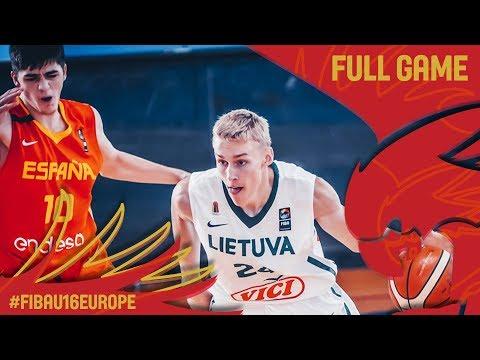Lithuania v Spain - Full Game - Classification 5-8 - FIBA U16 European Championship 2017