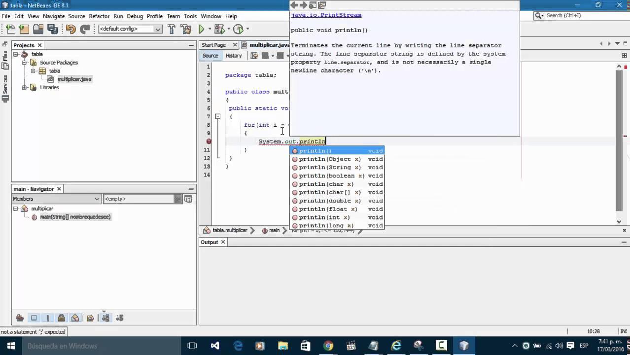 Tabla De Multiplicar Netbeans 8 1 Java Youtube