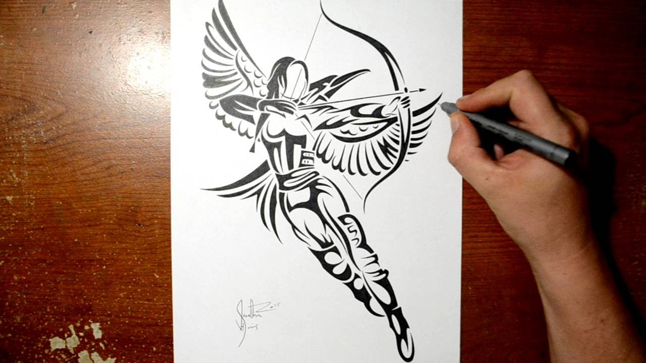 drawing katniss from hunger games tribal tattoo design style youtube. Black Bedroom Furniture Sets. Home Design Ideas