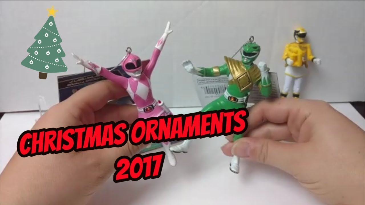 Power Rangers Christmas Tree.Power Rangers Christmas Ornaments 2017 Review Pink And Green Rangers