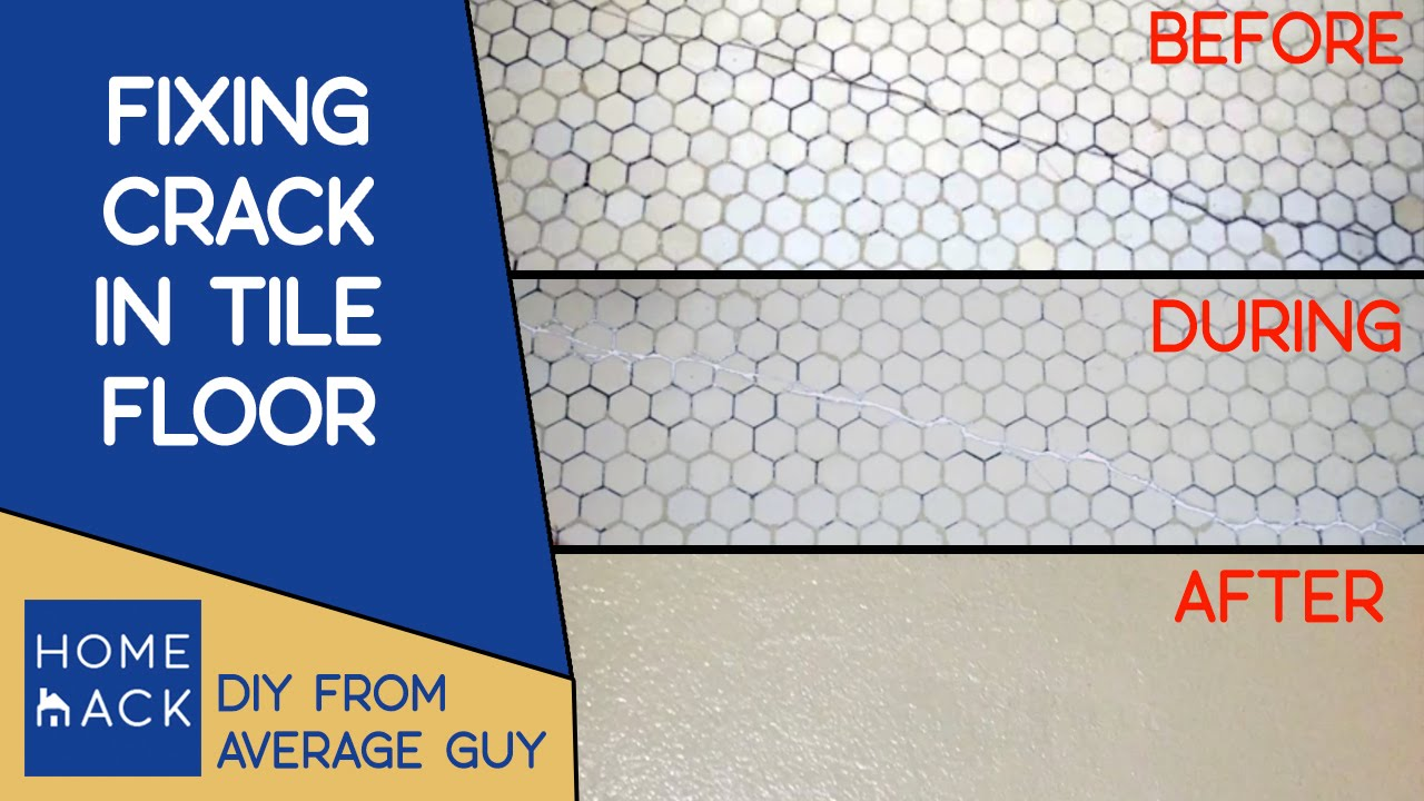 Fixing crack in bathroom tile floor - YouTube