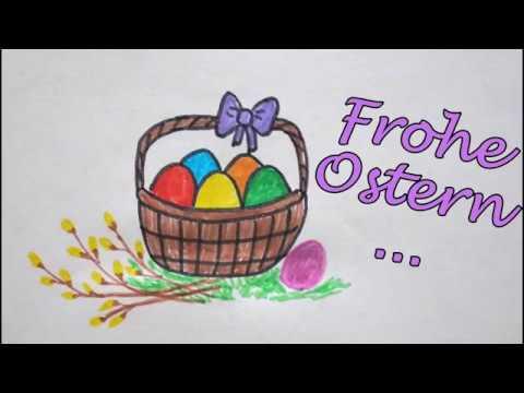 Osterkorb Zeichnen Mit Weidenästen Frohe Ostern Malen How To Draw A Easter Basket Happy Easter
