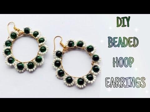 DIY Beaded Hoop Earrings♥  Traditional Earrings